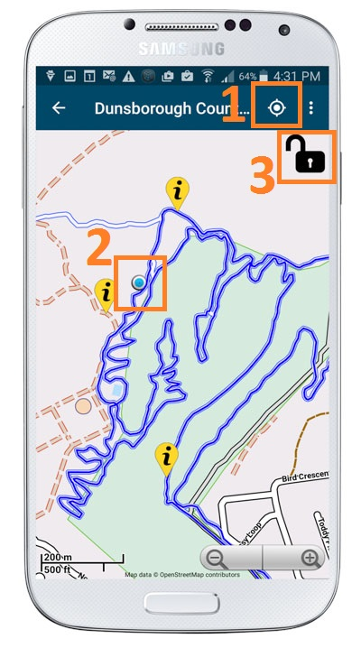 Mountain bike trail map with the GPS turned on