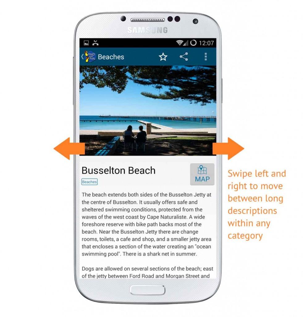 Screenshot showing swiping function in long descriptions within categories
