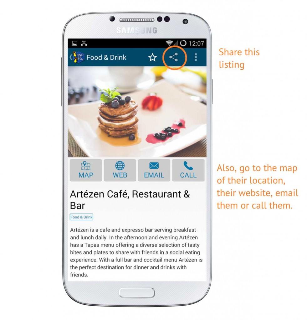 Screenshot on sharing a listing