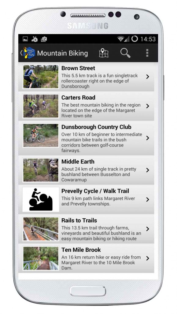 Find the Fun list of mountain bike trails in the Margaret River Region